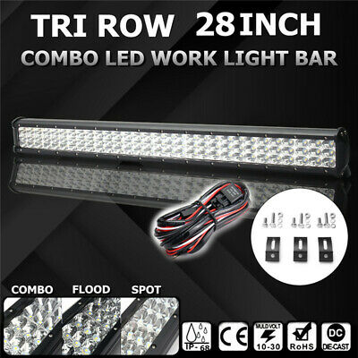 Tri-Row 28 INCH 450W 90LED Work Light Bar Spot Flood Combo For SUV JEEP + Wiring