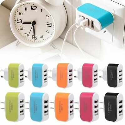 3 USB Ports Outlet Wall Charger Adapter AC Power Supply With LED Light US 3.1A