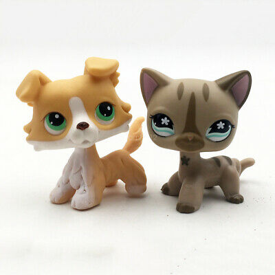 2pcs Littlest Pet Shop LPS Puppy Striped Cat #468 Collie Dog #272 Toy Figure