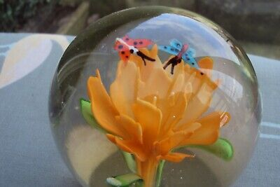 Pretty Coloured Flower Paper Weight With Butterflys.