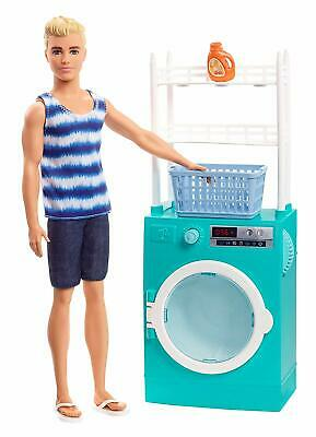 Barbie Ken Doll Laundry Room With Spinning Washer, Dryer Playset NEW
