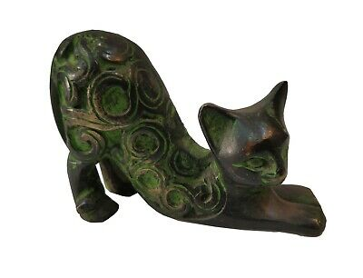 Collectible Antique Vintage Home Decor Solid Brass Cat Figurine Statue #TSH44