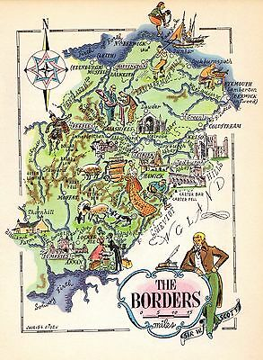 1949 Antique SCOTLAND Map Scottish BORDERS Edinburgh Map Compass Rose 6377
