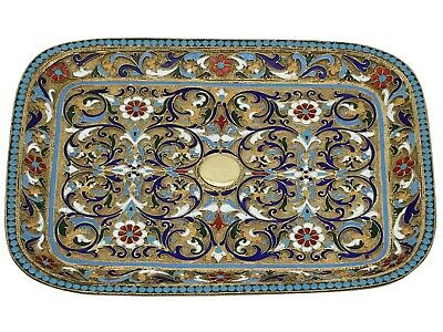 Russian Silver Gilt and Polychrome Cloisonne Enamel Tray Antique Circa 1890