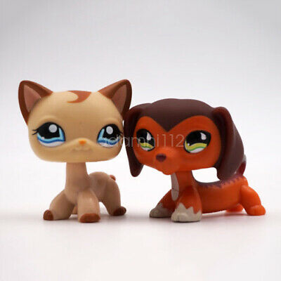 2x Littlest Pet Shop LPS Savvy Savannah Dachshund Dog #675 Cat #1024 Toy Figure