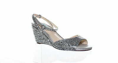 8a3f0b3c2b90 Betsey Johnson Womens Elora Silver Ankle Strap Heels Size 6.5 (129546)
