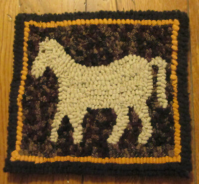 Beginner Primitive Oatmeal Horse Rug Hooking Kit with cut wool strips
