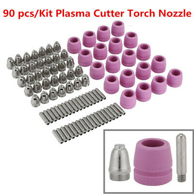 90 pcs Plasma Cutter Cutting Torch Consumables Electrode Nozzles Cups Kit New