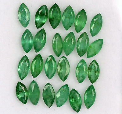 Natural Emerald Marquise Cut 6x3 mm Lot 15 Pcs 3.39 Cts Untreated Loose Gemstone