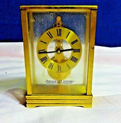 A Jaeger  Lecoultre 564 Small Brass Desk Clock With 16 Jewel Miniature
