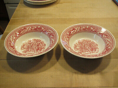 "Vintage Royal China memory Lane red hard to find 2- 6 1/8"" cereal bowls-excond"
