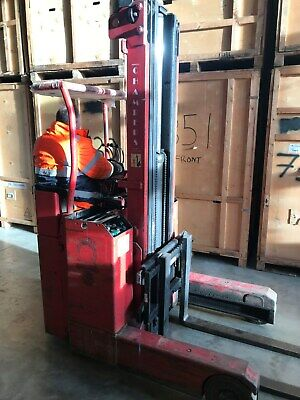 lansing bagnall electric reach forklift triple mast long fork removal containers