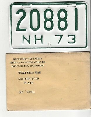 1973 NEW HAMPSHIRE MOTORCYCLE License Plate 73 NH  MC Tag  # 20881 YOM CLEAR NOS