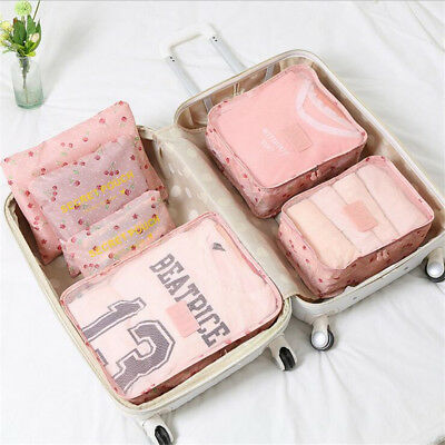 6Pcs Waterproof Travel Storage Bags Cube Luggage Organizer Pouch Clothes Packing