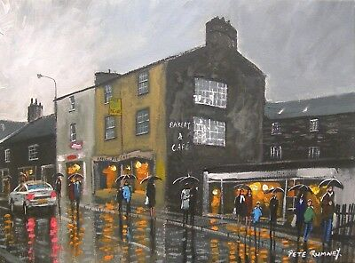 Pete Rumney Art Original Canvas Painting Apple Pie Cafe Ambleside Lake District