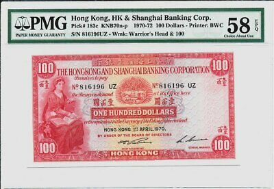 Hong Kong Bank Hong Kong  $100 1970  PMG  58EPQ