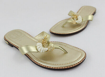 e6ded900136 New Lilly Pulitzer Resort White Beach Club Beaded Sandals Gold Leather  Crystals