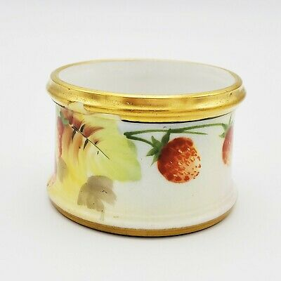 Antique Gilded Porcelain Hand Painted Napkin Ring Strawberries Signed M.B.