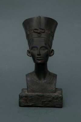 EGYPTIAN ANTIQUE Ancient EGYPT STATUE Queen NEFERTITI Head Carved Black Stone BC