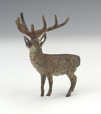 Antique Cold Painted Vienna Bronze Miniature Stag Deer Figure - Lovely!