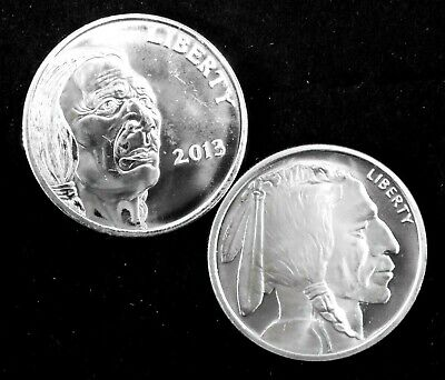 2-1 Troy Ounce .999 Silver Coins - 1-2013 Ind/Buffalo &1-Ind/Buffalo Copy All BU