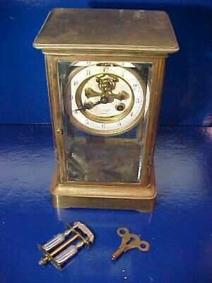 1920s TIFFANY + Co BRASS Case CARRIAGE CLOCK Made in FRANCE by MARTI Needs Work