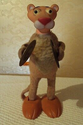 """Vintage ILLCO Wind Up PINK PANTHER W/Symbals 9"""" DOLL"""