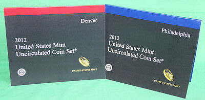 2012 ANNUAL US Mint Uncirculated Coin Set 28 P and D Minted Coins with COA