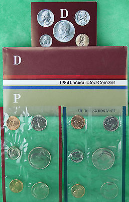 1984 US Mint Uncirculated 10 Coin Set BU Philadelphia and Denver Coins Complete