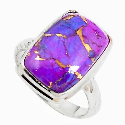 925 Sterling Silver Purple Copper Turquoise Octagan Ring Jewelry Size 6.5 M72614