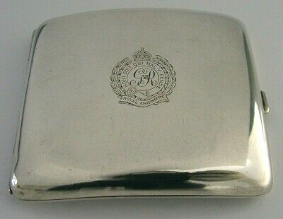 RARE SOLID SILVER ROYAL ENGINEERS CIGARETTE CASE 1908 MILITARY ANTIQUE 135g