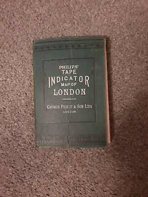 Philips tape Indicator Map Of London. Original. By George Philip & Son LTD.