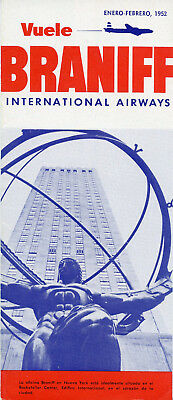 Braniff International Airways January - February 1952 South American Timetable