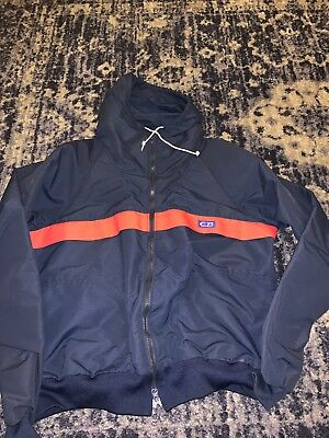 Vintage 1984 Cb Sports Windbreaker Zip Up Jacket Mens Xl Blue Red Hoodie