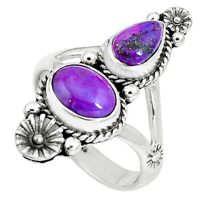 Purple Copper Turquoise 925 Sterling Silver Ring Jewelry Size 8 M76553