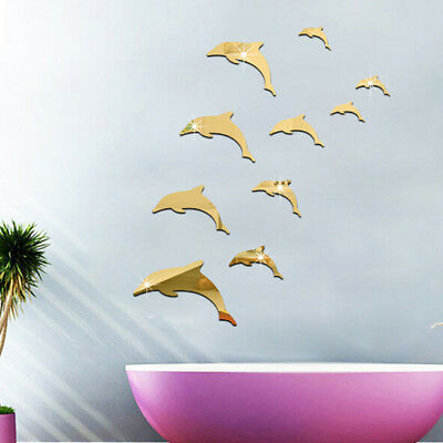 3D DIY Wall Mirror Dolphin Design Acrylic Self-Adhesive Art Stickers Decals Z