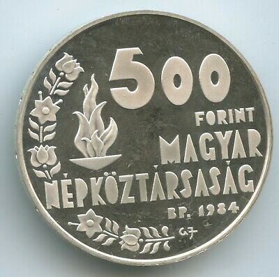 GS1202 - Hungary 500 Forint 1984 BP KM#642 UNC Silver Los Angeles Olympics Proof