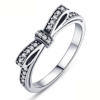 55cacdd9a New Authentic Pandora 925 Silver Sparkling Bow Knot Stackable Ring 190906CZ