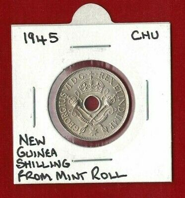 1945 Papua New Guinea 1/- One Shilling UNC from mint roll