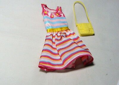 Barbie Doll Pink Stripped Dress, Necklace & Purse