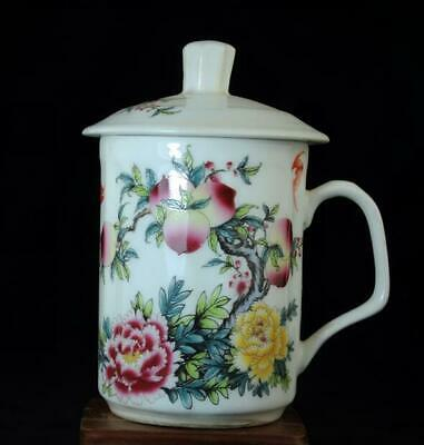China Old Hand-made Famille Rose Porcelain Longevity Peach Cup/daqing Mark B01