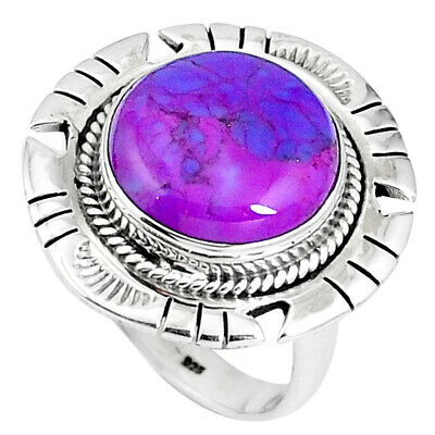 925 Sterling Silver Purple Copper Turquoise Ring Jewelry Size 8 M76615
