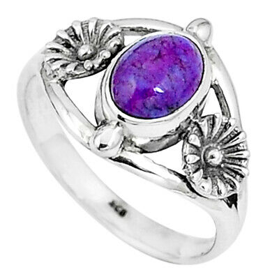 Purple Copper Turquoise 925 Sterling Silver Ring Jewelry Size 7 M76516