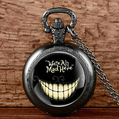 Antique Necklace Chain Pocket Watch We Are All Mad Here Vintage Pendant Quartz