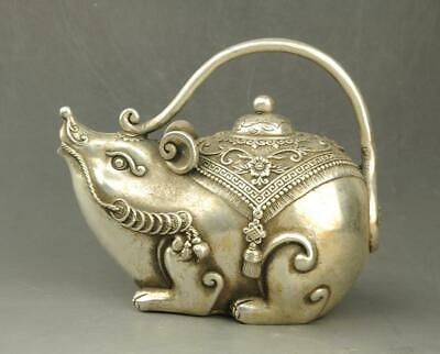 Chinese old copper plating silver  hand-carved Wealth mouse statue teapot e01