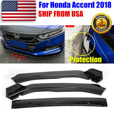 3pcs Glossy Black Front Bumper Chin Lip Spoiler Protection For Accord 2018-2019