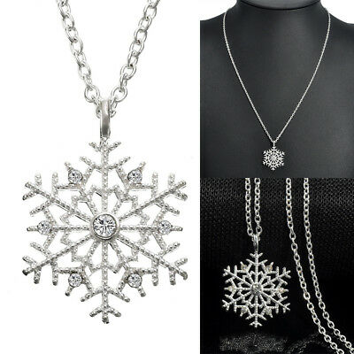 Silver Frozen Snowflake Shaped Crystal Necklace Sweater Chain Charm Jewelry Gift