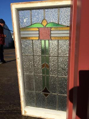 Art Deco Leaded Stained Glass Window 1930s Industrial Salvage Vintage