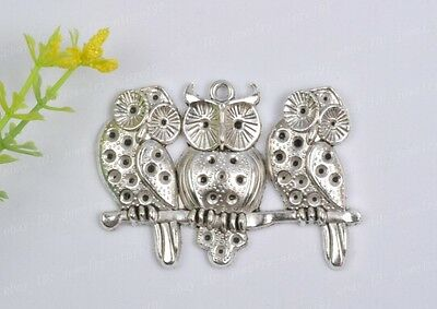 FREE SHIP 1PCS Tibetan Silver Warm family owl charm pendant 58MM JK0821