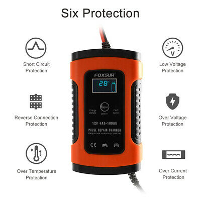12V 5A Smart Waterproof Car Battery Charger Desulfator for Lead Acid Red AC1863